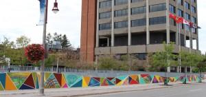 Mural created by DC graduate outside Oshawa City Hall.