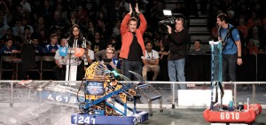 Rick Mercer cheering on students at the First Robotics Competition