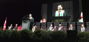 Speaker on stage at Durham College's 2016 Fall Convocation