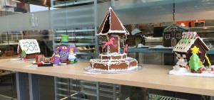Gingerbread houses from the Ho Ho Ho Holiday Hullaballoo competition in support of the campus Holiday Food Drive.