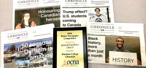 Durham College's (DC) student-led newspaper, The Chronicle, took second place honours in the General Excellence category for Ontario college and university newspapers at the Ontario Community Newspaper Association's (OCNA) Better Newspaper Awards gala.