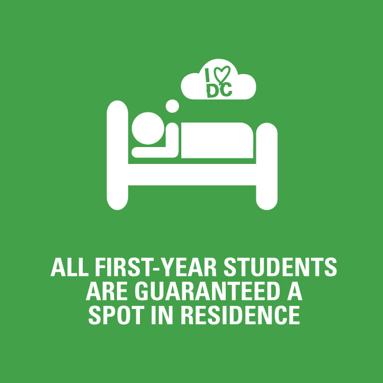 All first-year students are guaranteed a spot in residence
