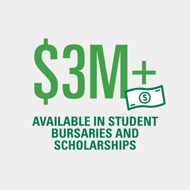 Over 3 million dollars available in student bursaries and scholarships