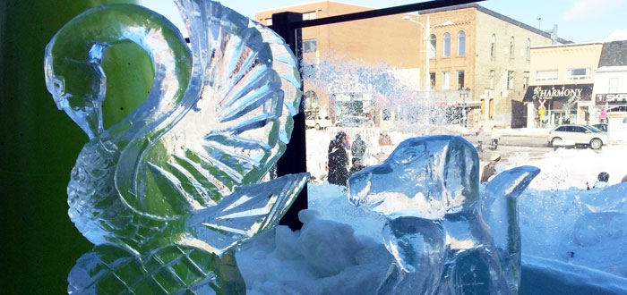 Winning ice carving by DC students