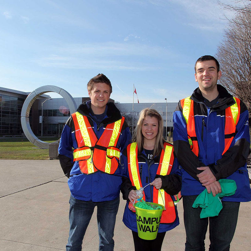 Students participating in the campus walk program at the Oshawa campus.