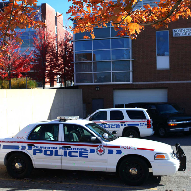 A Durham Regional Police vehicle parked at the Oshawa campus