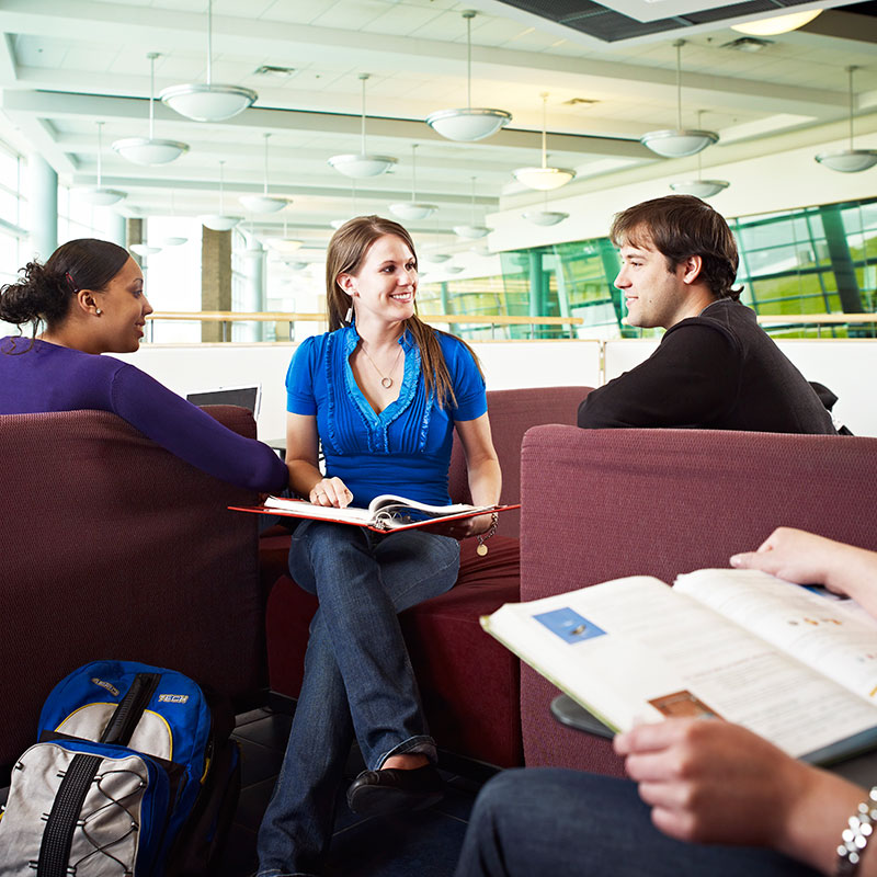 Students studying above the Learning Commons