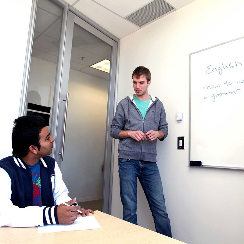 Students studying in a study room.