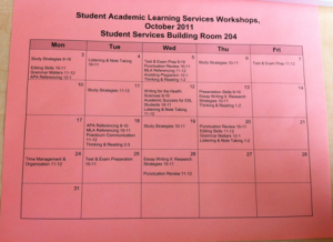 Student Academic Learning Services workshop schedule October 2011
