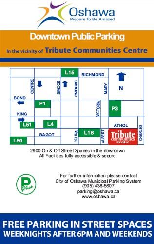 Downtown Oshawa public parking map.