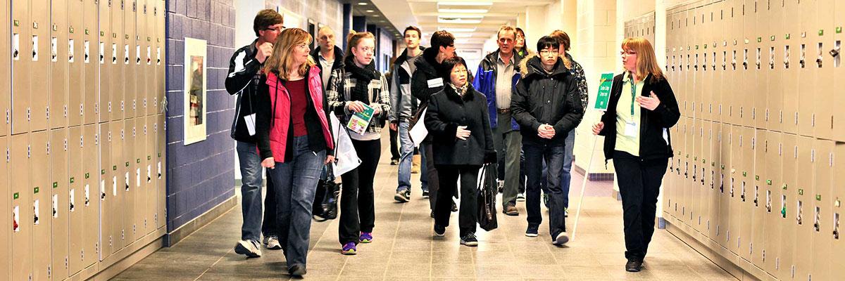 Students in Durham College hallway